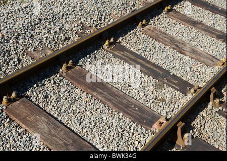 Railway lines sleepers and ballast on the Pontypool and Blaenavon Railway Torfaen South Wales UK - Stock Photo