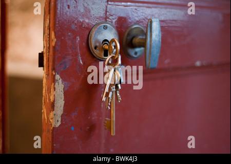 Paris, France,  Close up, Keys, in Old Door Lock - Stock Photo