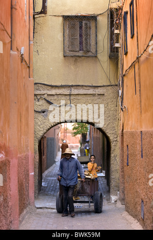 In the alleyways of the Medina, Marrakech, Morocco, Africa - Stock Photo