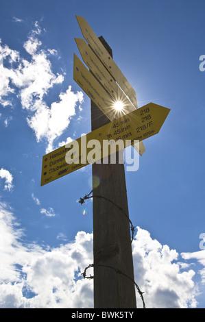 Signpost, Wurzeralm, Totes Gebirge, Upper Austria, Austria - Stock Photo