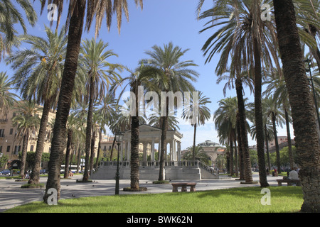 Palm trees at square Piazza Castelnuovo with Politeama Garibaldi Theater, Palermo, Province Palermo, Sizily, Italy, - Stock Photo
