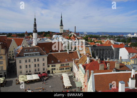 View over old town towards habour, Tallinn, Estonia, Europe - Stock Photo