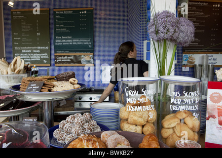 Cafe in downtown Malmoe, Malmoe, Skane, South Sweden, Sweden - Stock Photo