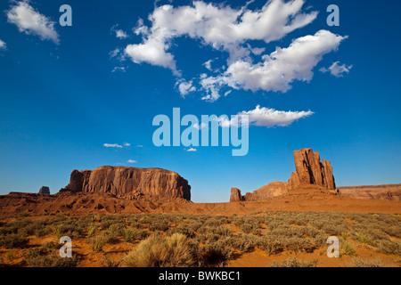 View from John Ford Point, Monument Valley, Colorado Plateau, Navajo Nation Reservation, Arizona, USA - Stock Photo