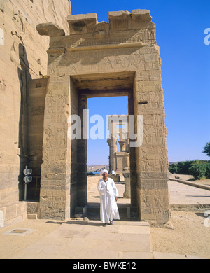 Egypt North Africa Aswan island isle Philae Isis temple man cultural site historical Antique antiquity Eg - Stock Photo