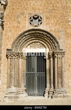 Facade of Santa Maria Maggiore Church, Tuscania, Viterbo Province, Latium, Italy - Stock Photo