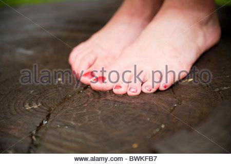 Woman barefoot - Stock Photo