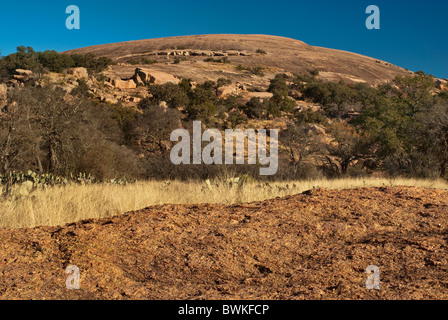 Main Dome at Enchanted Rock State Natural Area, in Hill Country near Fredericksburg, Texas, USA - Stock Photo