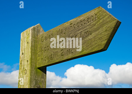 Wooden signpost for the Dales Way footpath Lower Wharfedale North Yorkshire England UK United Kingdom GB Great Britain - Stock Photo