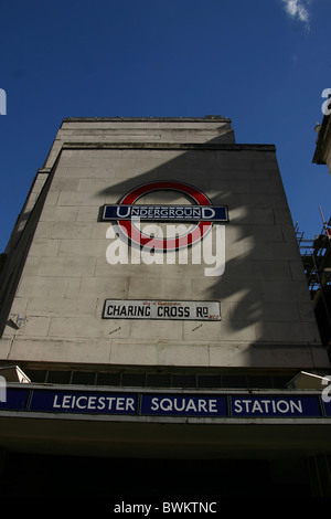 Leicester Square Underground station on Charing Cross Road in London, England - Stock Photo