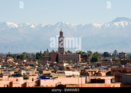 View over Marrakesh in Morocco, North Africa towards the Atlas Mountains - Stock Photo