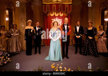UK London Queen Elizabeth II Royal Family Madame Tussauds Great Britain Europe England Wax museum sculptures - Stock Photo
