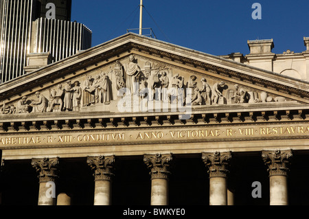 UK London Royal Exchange City Great Britain Europe England architecture building old columns - Stock Photo