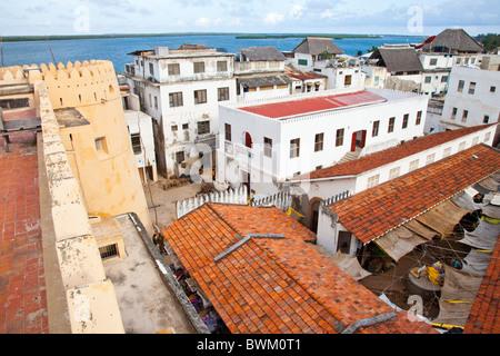 Lamu Fort or Fumo Madi ibn Abi Bakr, overlooking market and town, Lamu Island, Kenya - Stock Photo