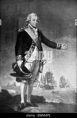 Black and White Illustration; Admiral John Jervis, 1st Earl of St Vincent - Stock Photo