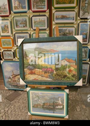 Malcesine Lake Garda Region Veneto Province of Verona Europe Italy Europe Northern Italy art shop paintings - Stock Photo