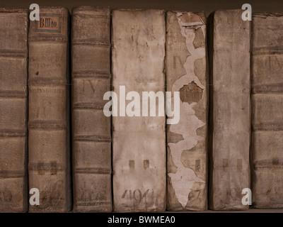 Ancient Medical Books in library of Strahov Monastery Hradcany Prague Czech Republic - Stock Photo