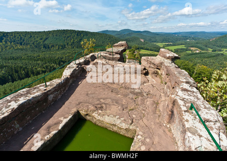 DRACHENFELS RUIN, DAHNER FELSENLAND, PFALZ FOREST, PFALZ, RHINELAND-PALATINATE, GERMANY - Stock Photo
