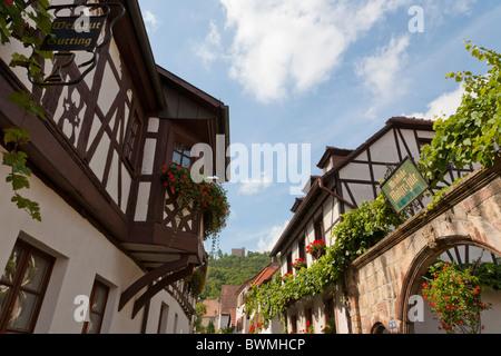 SCHLOSSSTRASSE, HAMBACH CASTLE, HAMBACH, NEAR NEUSTADT AN DER WEINSTRASSE, GERMAN WINE ROUTE, RHINELAND-PALATINATE, - Stock Photo