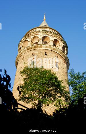ISTANBUL, TURKEY. The Galata Tower in Beyoglu district. Autumn 2010. - Stock Photo