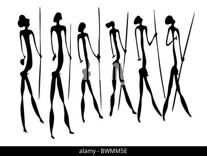 Primitive figures looks like cave painting - primitive art - warriors - Stock Photo