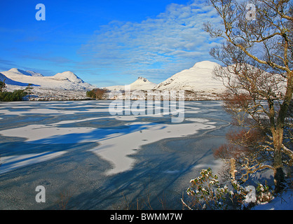 UK Scotland Highland Wester Ross-shire winter by Loch Drumrunie and mountains of Ben More Coigach Stackpolly and - Stock Photo