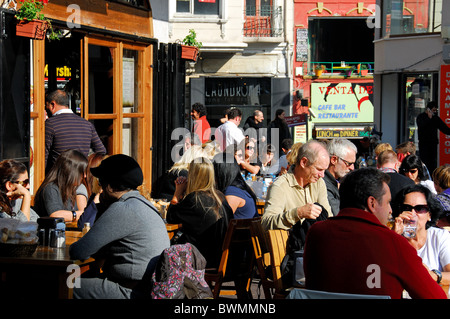 ISTANBUL, TURKEY. A restaurant on a square in the Galata district of Beyoglu. Autumn 2010. - Stock Photo
