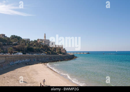 Israel, Jaffa as seen from the North the old port on the right and the belfry of the Church of St Peter in the centre - Stock Photo