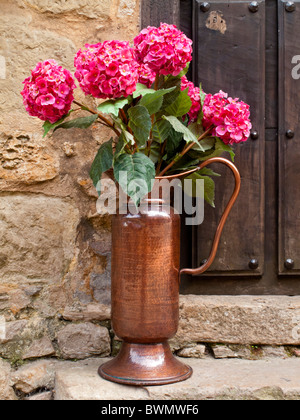 Pink hydrangea flowers in a tall jug on a doorstep in Northern Spain - Stock Photo