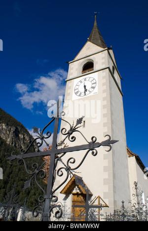 Church in Schmitten, Graubunden, Switzerland - Stock Photo
