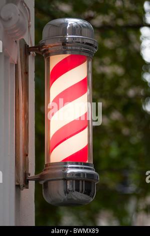 Barbers shop pole, London, UK - Stock Photo