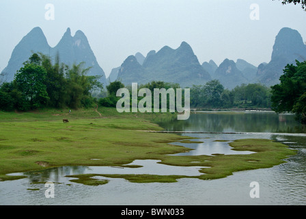 Karst mountains and Li River at Fuli, Guangxi, China - Stock Photo