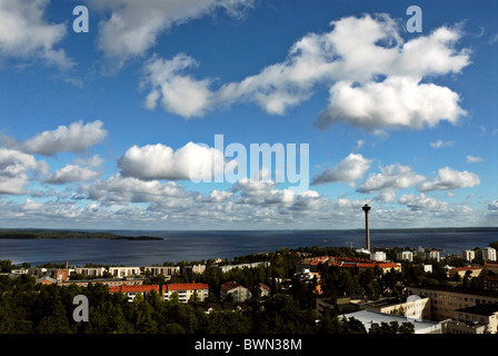 Tampere Finland Europe Suomi town city industrial town observation tower Sarkanniemi Scandinavia lakes lake - Stock Photo