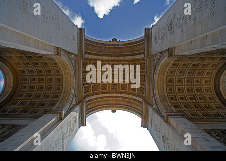 France Europe Paris city Arc de Triomphe Triumphal arch detail ceiling architecture sky - Stock Photo