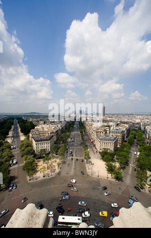 France Europe Paris city View from Arc de Triomphe Triumphal arch Place Charles de Gaulle overview overlook - Stock Photo