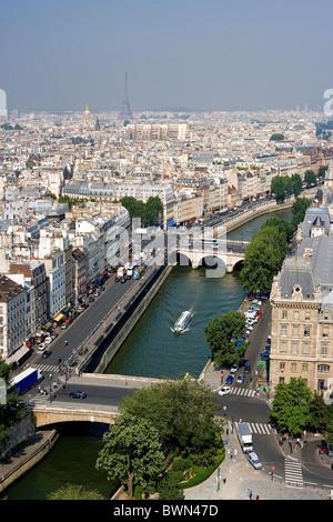 France Europe Paris city Ile de la Cite Pont Saint-Michel Petit Pont bridge bridges overview overlook high - Stock Photo