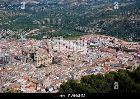 Spain Europe Andalucia Region Jaen City Cathedral old town roofs high angle overview aerial view - Stock Photo
