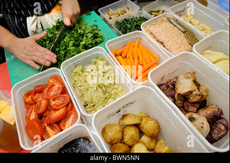 Pre-prepared ingredients in a restaurant UK - Stock Photo