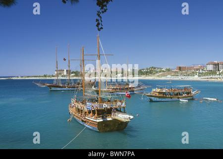 Gulet boats near Incekum Turkish Riviera Turkey Boat Guelet Gulet ship travel Riviera holiday holidays vac - Stock Photo
