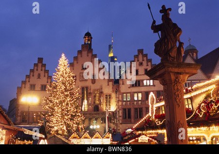 Frankfurt Hessen Germany Europe Europe Romer architecture travel Statue christmas market fair tree illumin - Stock Photo