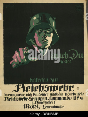 Reichswehr 1919 Weimar Republic Mohl General major Propaganda poster recruitment recruiting advertising mili - Stock Photo