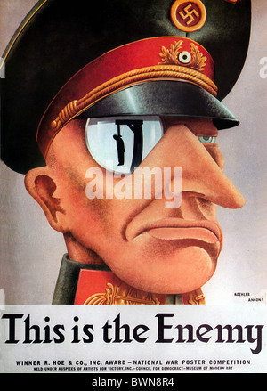 US poster 1942 WW2 history historical historic Second World War Nazi German Wehrmacht Enemy propaganda Germ - Stock Photo