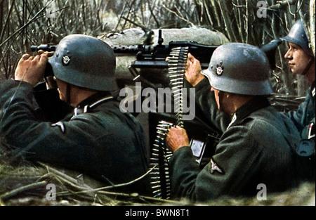 Wehrmacht Nazi Germany Europe dugout soldiers weapon machine gun machinegun Second World War World War II WW - Stock Photo