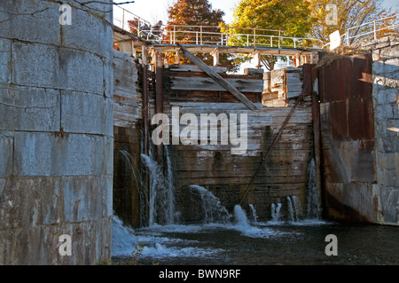 A deteriorating gate on the Soulange Canal. - Stock Photo
