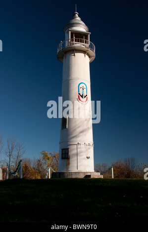 An historical lighthouse on the Soulange canal. - Stock Photo