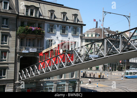 Switzerland Europe Zurich city Polybahn Zurich funicular railway cable car historic town - Stock Photo