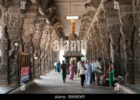 Corridor-The Sri Ekambaranathar Temples ;represents the Prithvi (Earth) Linga,Shiva;Saivite; kanchipuram; Tamil - Stock Photo