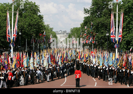 Veterans bearing regimental flags march along the Mall after attending the service to commemorate the end of World - Stock Photo