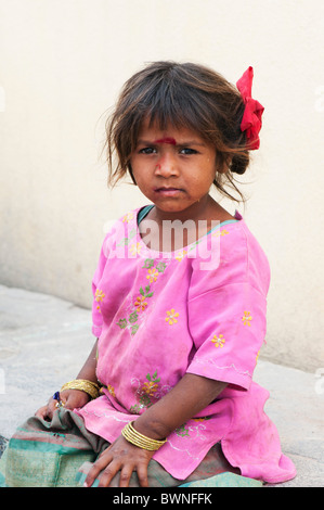 Young poor lower caste Indian street girl. Andhra Pradesh, India - Stock Photo