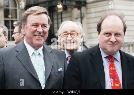 Radio presenters Terry Wogan, David Jacobs and James Naughtie outside the BBC Broadcasting House in London - Stock Photo